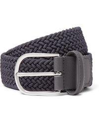 Andersons 3.5cm Dark-grey Leather-trimmed Woven Elastic Belt