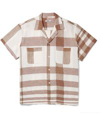 Bode Camp-collar Checked Embroidered Linen And Cotton-blend Shirt - Multicolour