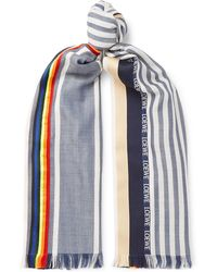 Loewe - Fringed Striped Woven Scarf - Lyst