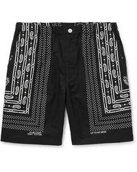 Flagstuff Wide-leg Bandana-print Cotton-poplin Shorts - Black
