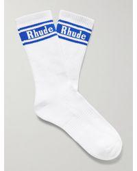Rhude Mclaren Ribbed Logo-jacquard Cotton-blend Socks - White