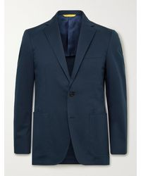 Canali Kei Slim-fit Stretch-cotton Twill Suit Jacket - Blue