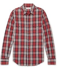 Saint Laurent - Slim-fit Checked Cotton, Ramie And Linen-blend Shirt -
