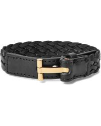 3783305972 Tom Ford - Woven Leather And Gold-tone Bracelet - Lyst