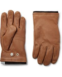 Norse Projects + Hestra Full-grain Leather And Wool-blend Gloves - Brown