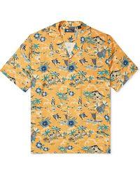 Reyn Spooner Camp-collar Printed Woven Shirt - Yellow