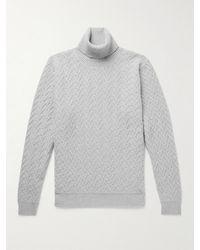 Incotex Textured Virgin Wool And Cashmere-blend Rollneck Jumper - Grey