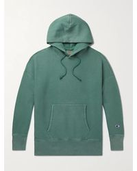 Champion Logo-embroidered Fleece-back Cotton-blend Jersey Hoodie - Green