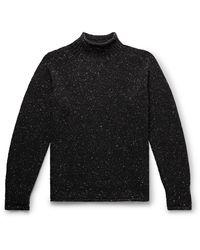 YMC Oversized Mélange Merino Wool Rollneck Jumper - Black