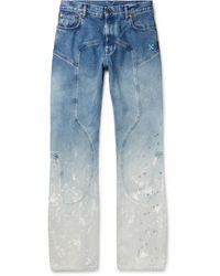 Off-White c/o Virgil Abloh Paint-splattered Dégradé Denim Jeans - Blue