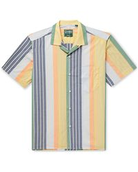 Gitman Brothers Vintage Camp Collar Awning Stripe Shirt - Blue