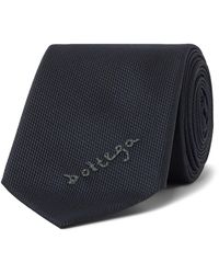 Bottega Veneta 5.5cm Embroidered Textured-silk Tie - Blue