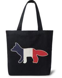 Maison Kitsuné Logo-print Cotton-blend Twill Tote Bag - Blue