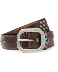RRL 3cm Rasco Studded Tumbled-leather Belt - Brown