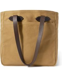 Filson Leather Trimmed Cotton-twill Tote - Brown