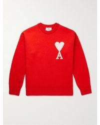 AMI Intarsia Wool Jumper - Red