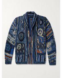 Kapital Boro Cotton-blend Jacquard Cardigan - Blue