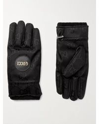 Gucci Padded Cashmere-lined Logo-jacquard Shell Gloves - Black