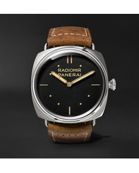 Panerai Radiomir S.l.c. 3 Days Acciaio Hand-wound 47mm Steel And Leather Watch - Black
