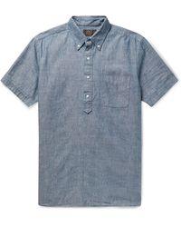 Beams Plus Button-down Collar Cotton-chambray Shirt - Blue