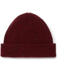 59e35e54388 Lyst - Mr P. Ribbed Donegal Wool Beanie in Black for Men