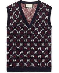 Gucci Slim-fit Logo-jacquard Wool Jumper Vest - Blue