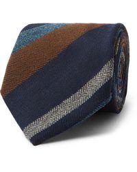 Bigi 9cm Striped Cashmere-jacquard Tie - Blue