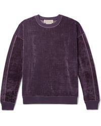 Remi Relief Ribbed Velour Sweatshirt - Purple
