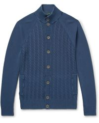Incotex - Garment-dyed Cable-knit Cotton Cardigan - Lyst