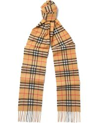 Burberry - Fringed Checked Brushed-cashmere Scarf - Lyst