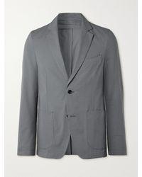Officine Generale Slim-fit Unstructured Cotton-seersucker Blazer - Blue