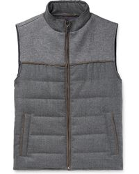 Hackett - Slim-fit Panelled Quilted Jersey And Virgin Wool Down Gilet - Lyst