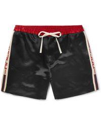 Gucci - Wide-leg Webbing-trimmed Satin-twill Shorts - Lyst