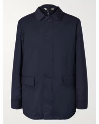 Loro Piana Storm System Virgin Wool-blend Car Coat With Detachable Quilted Shell Liner - Blue