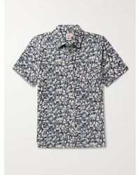 Faherty Brand Seasons Printed Slub Organic Cotton-jersey Shirt - Blue