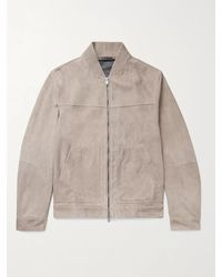 Theory Fletcher Suede Bomber Jacket - Multicolour
