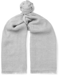 Ermenegildo Zegna - Fringed Linen, Cashmere And Wool-blend Scarf - Lyst