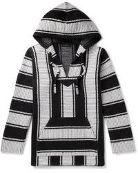 Alanui Striped Cotton And Cashmere-blend Hoodie - Black