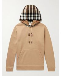 Burberry Checked Cotton-blend Jersey Hoodie - Multicolour
