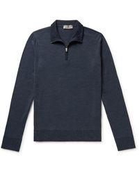Canali Slim-fit Wool Half-zip Sweater - Blue