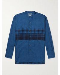 Blue Blue Japan Grandad-collar Checked Panelled Cotton-flannel Shirt - Blue