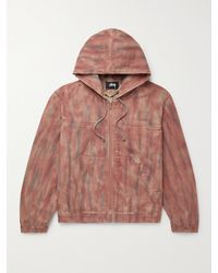 Stussy Tie-dyed Cotton-twill Hooded Jacket - Red