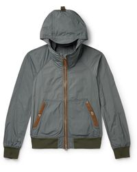 Tom Ford Slim-fit Leather-trimmed Shell Hooded Bomber Jacket - Green