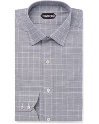Tom Ford - Prince Of Wales Checked Cotton Shirt - Lyst