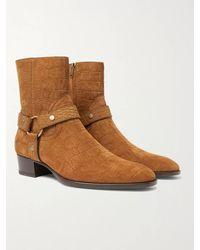 Saint Laurent Wyatt 40 Croc-effect Suede Boots - Brown