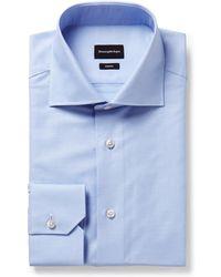 Ermenegildo Zegna - Light-blue Trofeo Slim-fit Cutaway-collar Cotton-poplin Shirt - Lyst