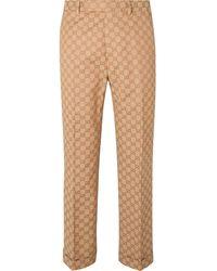 Gucci Slim-fit Logo-jacquard Cotton-blend Suit Pants - Multicolor