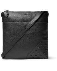 Tod's Reporter Gommini Full-grain Leather Messenger Bag - Black