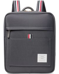 Thom Browne Grosgrain-trimmed Canvas Backpack - Gray