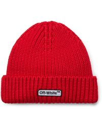 Off-White c/o Virgil Abloh - Logo-embroidered Ribbed Wool Beanie - Lyst